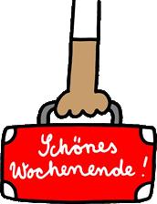 """Illustration eines getragenen Koffers mit der Aufschrift """"Schönes Wochenende"""""""